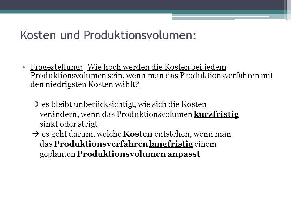 Kosten und Produktionsvolumen: Fragestellung: Wie hoch werden die Kosten bei jedem Produktionsvolumen sein, wenn man das Produktionsverfahren mit den