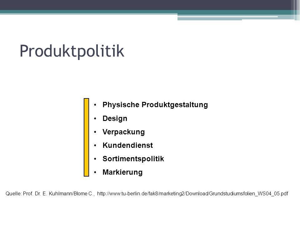 Produktpolitik Physische Produktgestaltung Design Verpackung Kundendienst Sortimentspolitik Markierung Quelle: Prof. Dr. E. Kuhlmann/Blome C., http://