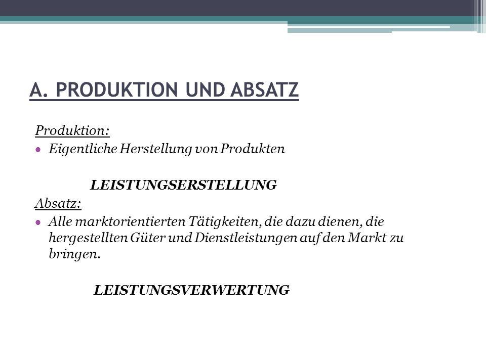 A. PRODUKTION UND ABSATZ Produktion: Eigentliche Herstellung von Produkten LEISTUNGSERSTELLUNG Absatz: Alle marktorientierten Tätigkeiten, die dazu di