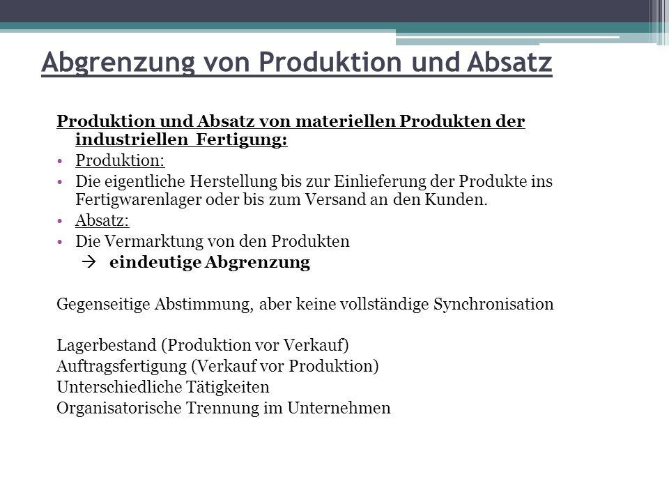 Abgrenzung von Produktion und Absatz Produktion und Absatz von Dienstleistungen Sehr enge Verbindung zwischen Produktion und Absatz Die Dienstleistung ist die von einer geplanten leistungswirtschaftlichen Aktivität, d.h.