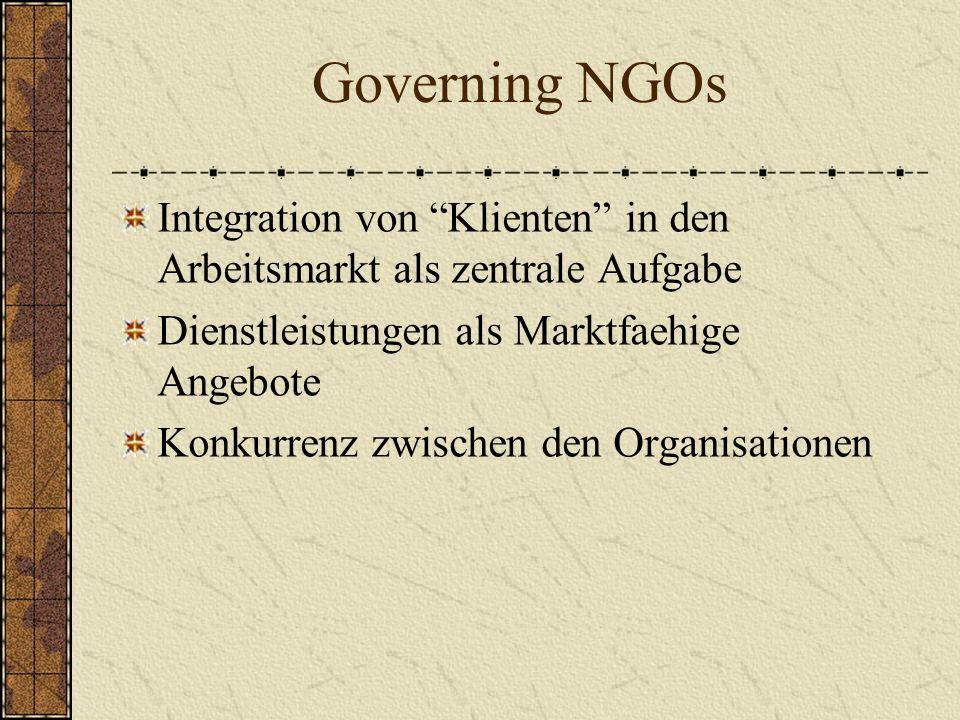 Governing NGOs Integration von Klienten in den Arbeitsmarkt als zentrale Aufgabe Dienstleistungen als Marktfaehige Angebote Konkurrenz zwischen den Organisationen
