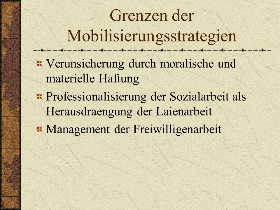 Grenzen der Mobilisierungsstrategien Verunsicherung durch moralische und materielle Haftung Professionalisierung der Sozialarbeit als Herausdraengung der Laienarbeit Management der Freiwilligenarbeit