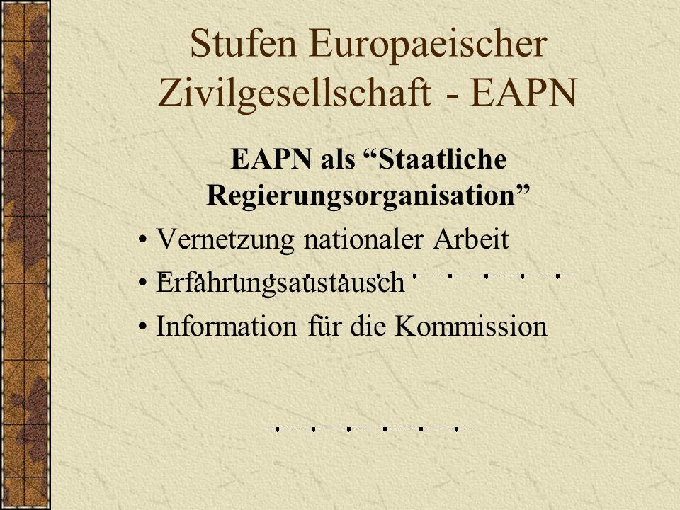 Stufen Europaeischer Zivilgesellschaft - EAPN EAPN als Staatliche Regierungsorganisation Vernetzung nationaler Arbeit Erfahrungsaustausch Information für die Kommission