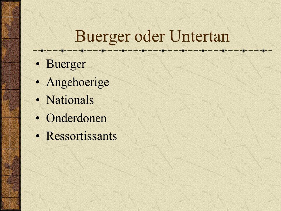 Buerger oder Untertan Buerger Angehoerige Nationals Onderdonen Ressortissants