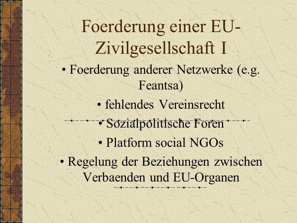 Foerderung einer EU- Zivilgesellschaft I Foerderung anderer Netzwerke (e.g.