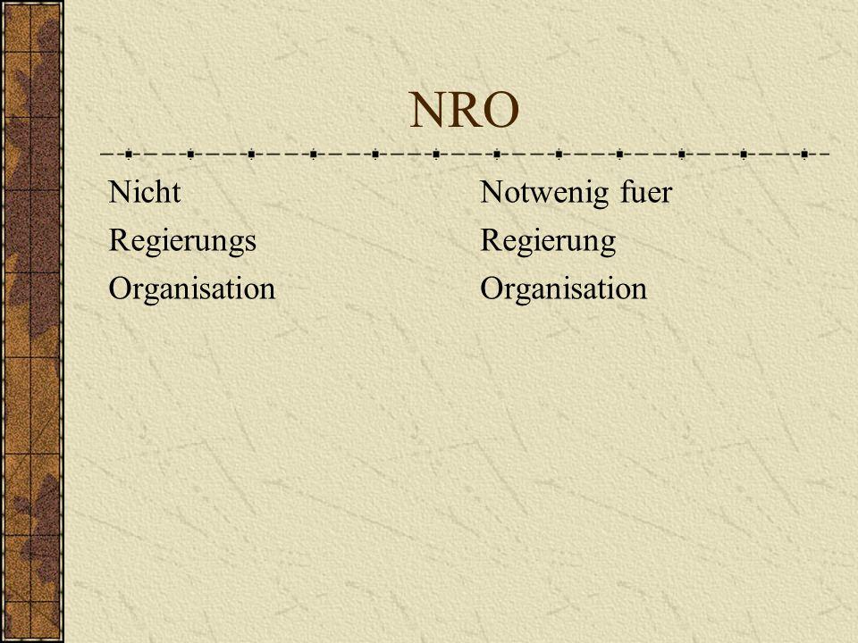 NRO Nicht Regierungs Organisation Notwenig fuer Regierung Organisation