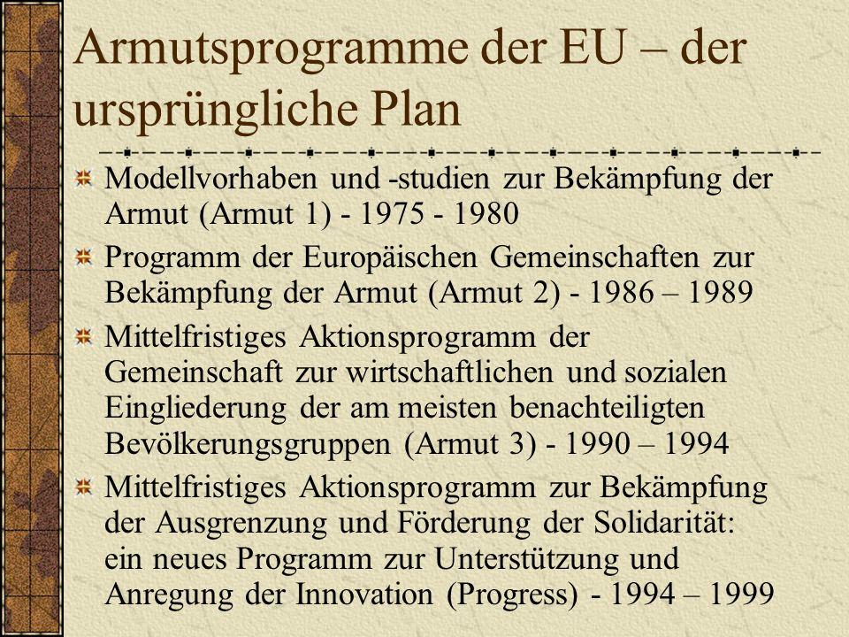 Armutsprogramme der EU – der ursprüngliche Plan Modellvorhaben und -studien zur Bekämpfung der Armut (Armut 1) - 1975 - 1980 Programm der Europäischen Gemeinschaften zur Bekämpfung der Armut (Armut 2) - 1986 – 1989 Mittelfristiges Aktionsprogramm der Gemeinschaft zur wirtschaftlichen und sozialen Eingliederung der am meisten benachteiligten Bevölkerungsgruppen (Armut 3) - 1990 – 1994 Mittelfristiges Aktionsprogramm zur Bekämpfung der Ausgrenzung und Förderung der Solidarität: ein neues Programm zur Unterstützung und Anregung der Innovation (Progress) - 1994 – 1999