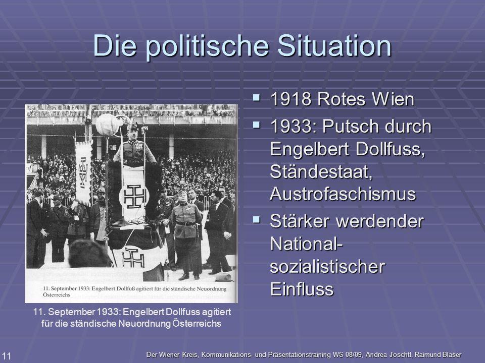 Der Wiener Kreis, Kommunikations- und Präsentationstraining WS 08/09, Andrea Joschtl, Raimund Blaser 11 Die politische Situation 1918 Rotes Wien 1918