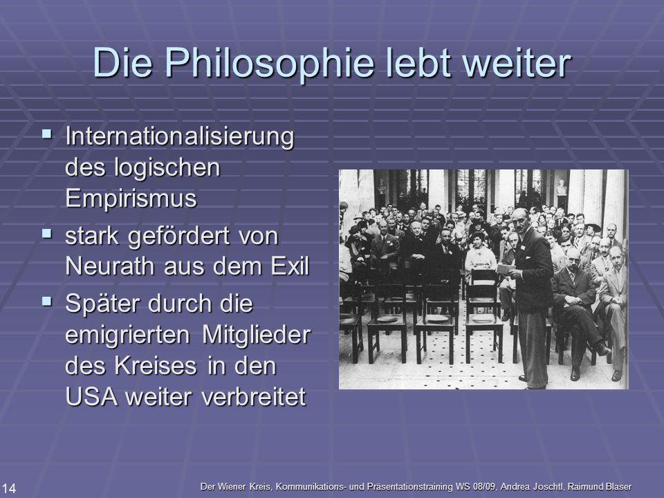 Der Wiener Kreis, Kommunikations- und Präsentationstraining WS 08/09, Andrea Joschtl, Raimund Blaser 14 Die Philosophie lebt weiter Internationalisier