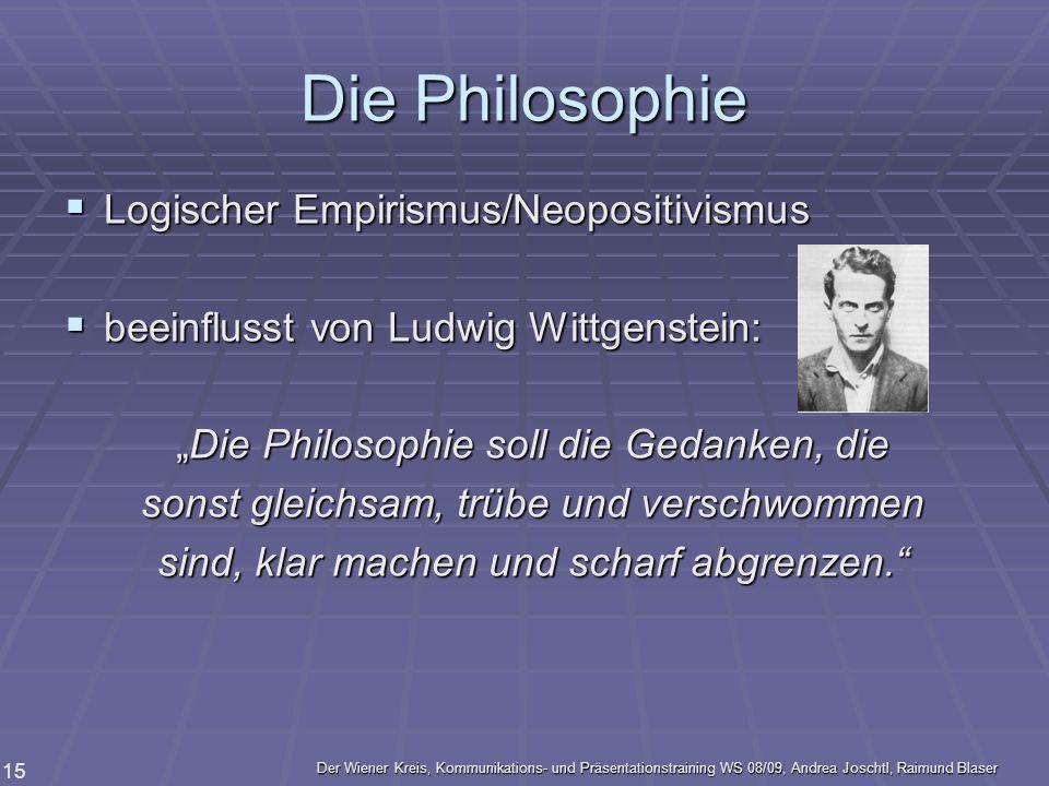 Der Wiener Kreis, Kommunikations- und Präsentationstraining WS 08/09, Andrea Joschtl, Raimund Blaser 15 Die Philosophie Logischer Empirismus/Neopositi
