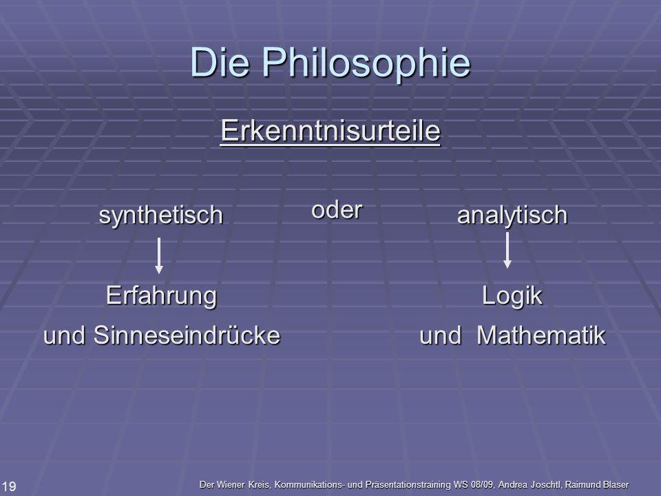 Der Wiener Kreis, Kommunikations- und Präsentationstraining WS 08/09, Andrea Joschtl, Raimund Blaser 19 Die Philosophie Erkenntnisurteile synthetischE