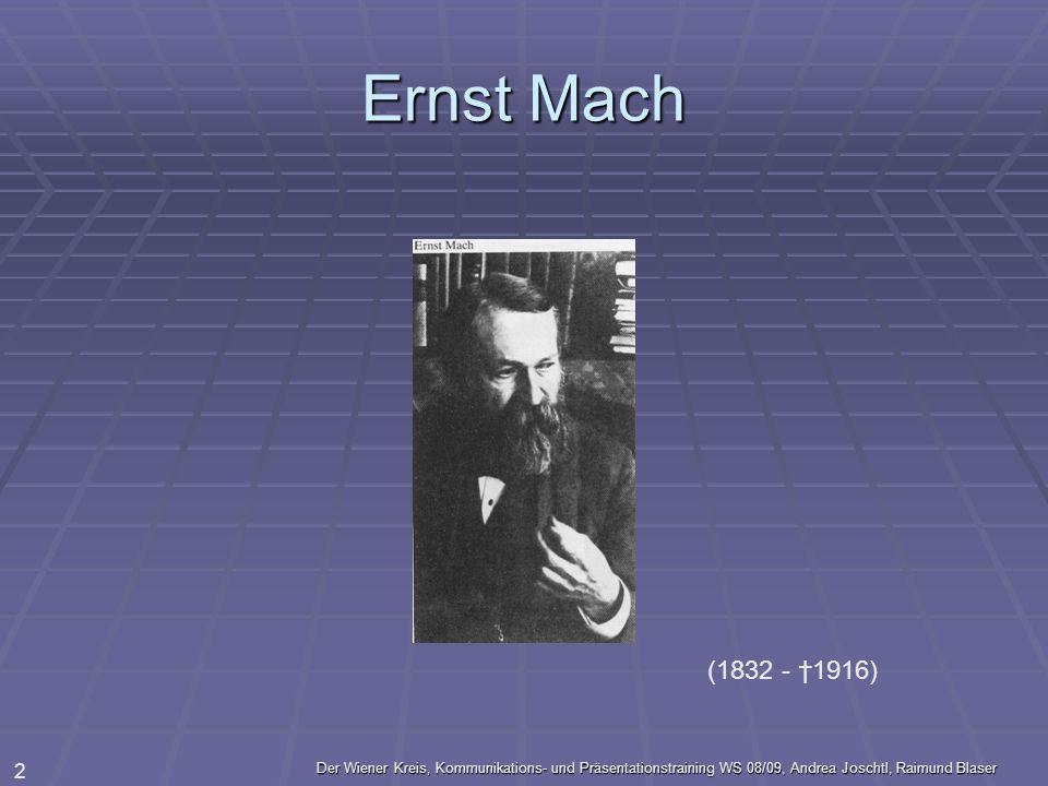 Der Wiener Kreis, Kommunikations- und Präsentationstraining WS 08/09, Andrea Joschtl, Raimund Blaser 2 Ernst Mach (1832 - 1916)
