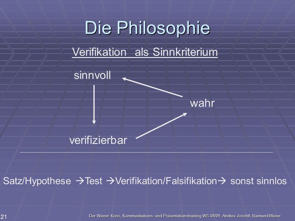 Der Wiener Kreis, Kommunikations- und Präsentationstraining WS 08/09, Andrea Joschtl, Raimund Blaser 21 Die Philosophie sinnvoll verifizierbar wahr Ve
