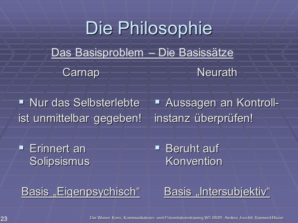 Der Wiener Kreis, Kommunikations- und Präsentationstraining WS 08/09, Andrea Joschtl, Raimund Blaser 23 Die Philosophie Carnap Nur das Selbsterlebte N