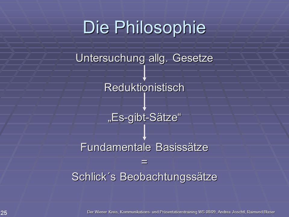 Der Wiener Kreis, Kommunikations- und Präsentationstraining WS 08/09, Andrea Joschtl, Raimund Blaser 25 Die Philosophie Untersuchung allg. Gesetze Red