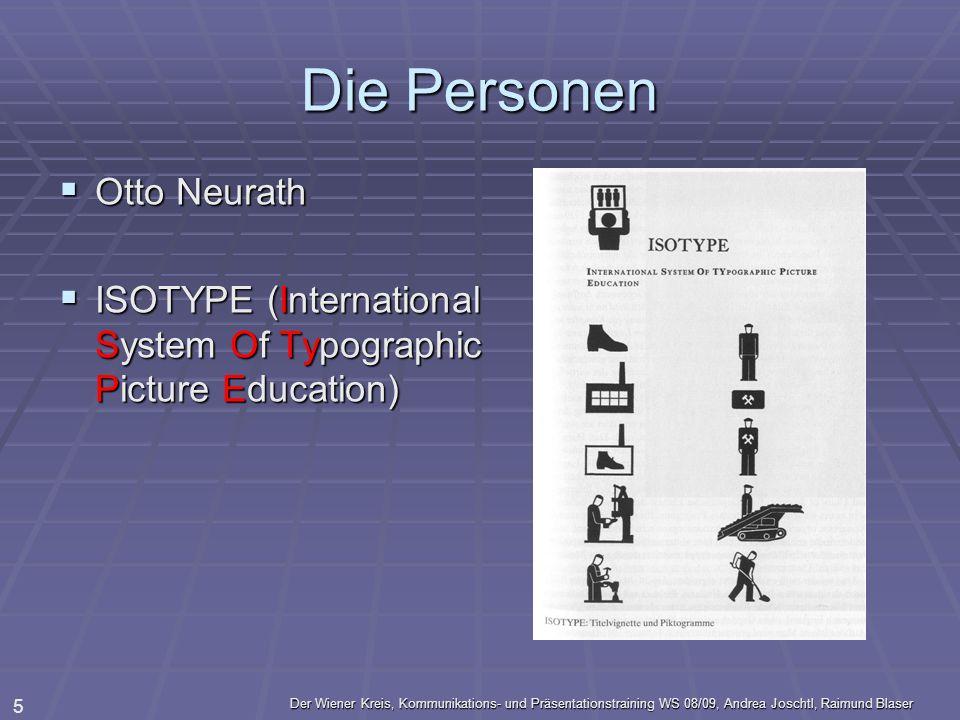 Der Wiener Kreis, Kommunikations- und Präsentationstraining WS 08/09, Andrea Joschtl, Raimund Blaser 5 Die Personen Otto Neurath Otto Neurath ISOTYPE