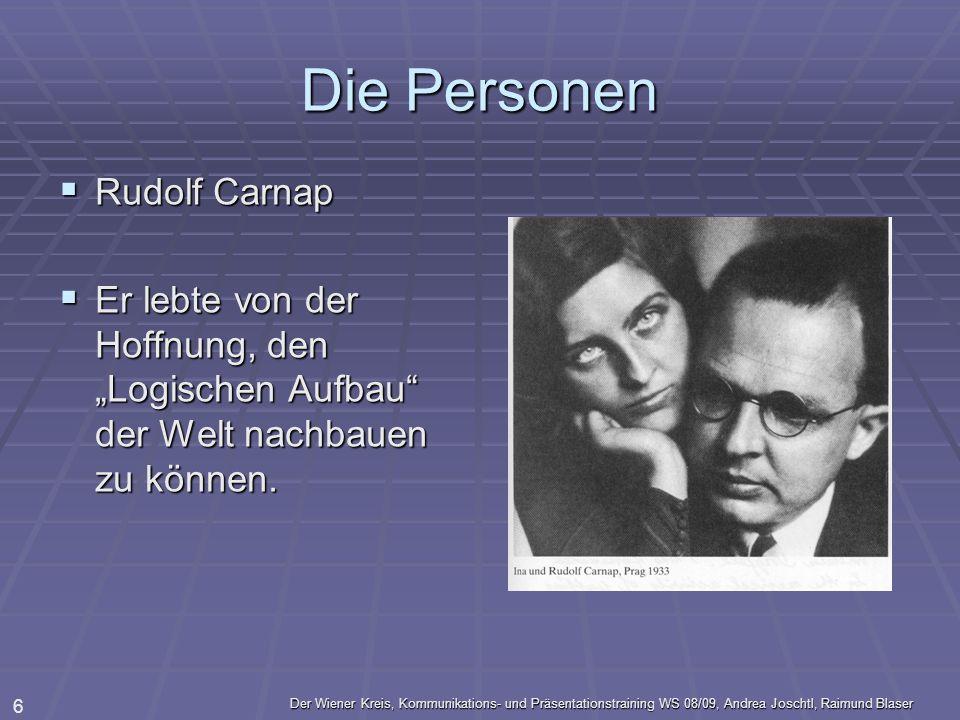 Der Wiener Kreis, Kommunikations- und Präsentationstraining WS 08/09, Andrea Joschtl, Raimund Blaser 6 Die Personen Rudolf Carnap Rudolf Carnap Er leb