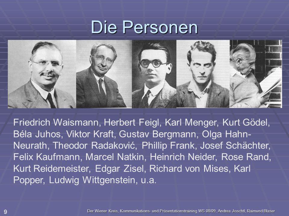 Der Wiener Kreis, Kommunikations- und Präsentationstraining WS 08/09, Andrea Joschtl, Raimund Blaser 9 Die Personen Friedrich Waismann, Herbert Feigl,