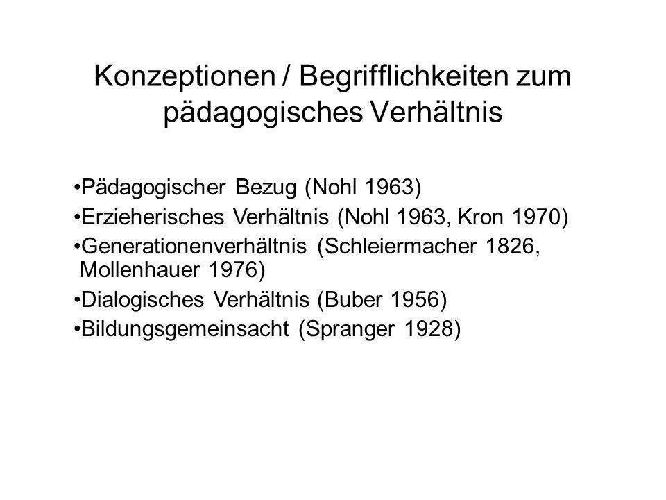 Pädagogischer Bezug (Nohl 1963) Erzieherisches Verhältnis (Nohl 1963, Kron 1970) Generationenverhältnis (Schleiermacher 1826, Mollenhauer 1976) Dialogisches Verhältnis (Buber 1956) Bildungsgemeinsacht (Spranger 1928) Konzeptionen / Begrifflichkeiten zum pädagogisches Verhältnis
