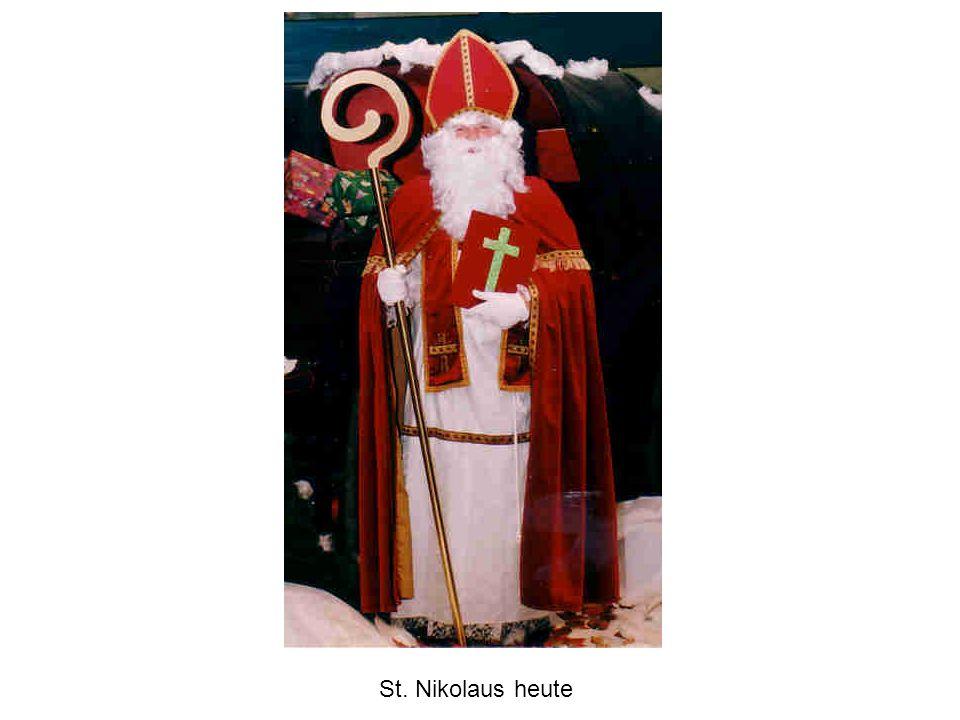 den Heiligen Nikolaus sieht man auf Bildern als Bischof mit - drei Goldkugeln - drei Broten - drei Steine - einem Pökelfass mit drei Knaben - Schiffen