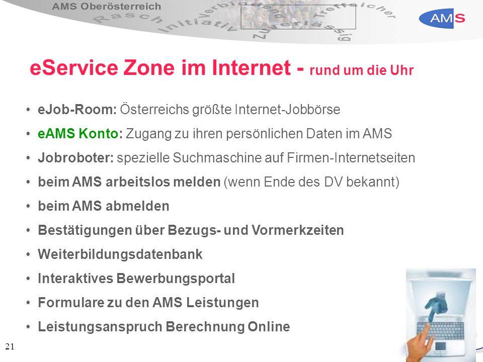 21 eJob-Room: Österreichs größte Internet-Jobbörse eAMS Konto: Zugang zu ihren persönlichen Daten im AMS Jobroboter: spezielle Suchmaschine auf Firmen