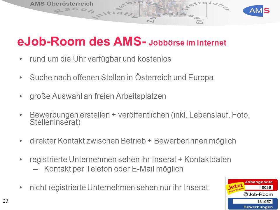 23 eJob-Room des AMS- Jobbörse im Internet rund um die Uhr verfügbar und kostenlos Suche nach offenen Stellen in Österreich und Europa große Auswahl a