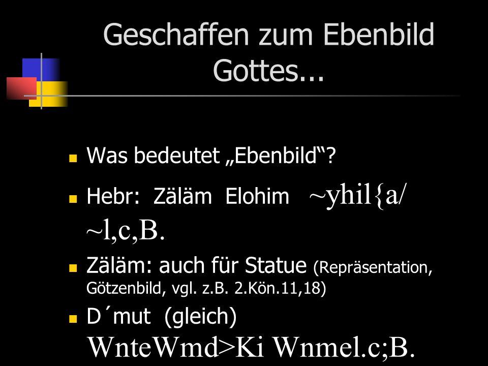 Geschaffen zum Ebenbild Gottes... Was bedeutet Ebenbild? Hebr: Zäläm Elohim ~yhil{a/ ~l,c,B. Zäläm: auch für Statue (Repräsentation, Götzenbild, vgl.