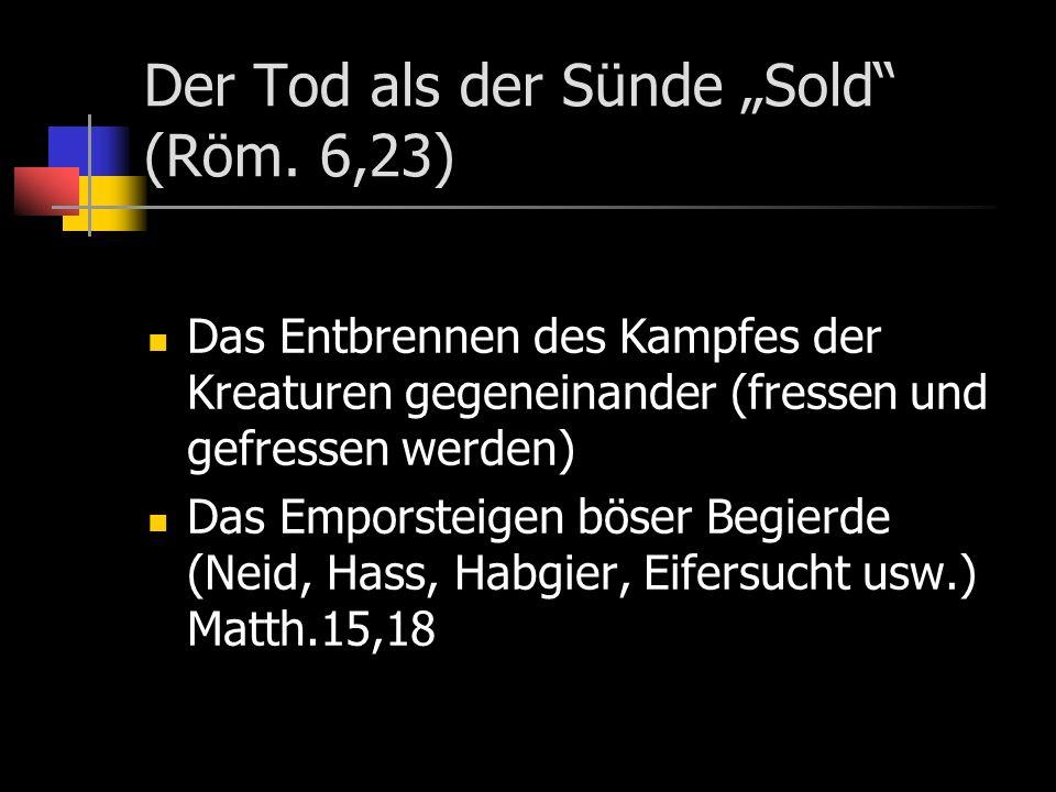 Der Tod als der Sünde Sold (Röm.