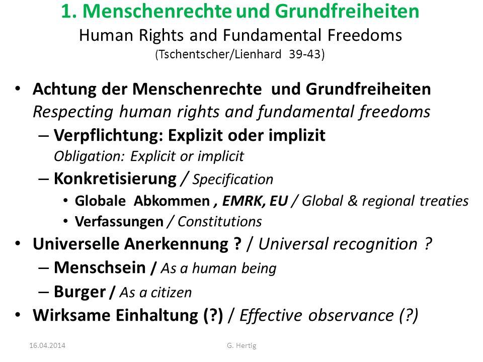 1. Menschenrechte und Grundfreiheiten Human Rights and Fundamental Freedoms ( Tschentscher/Lienhard 39-43) Achtung der Menschenrechte und Grundfreihei