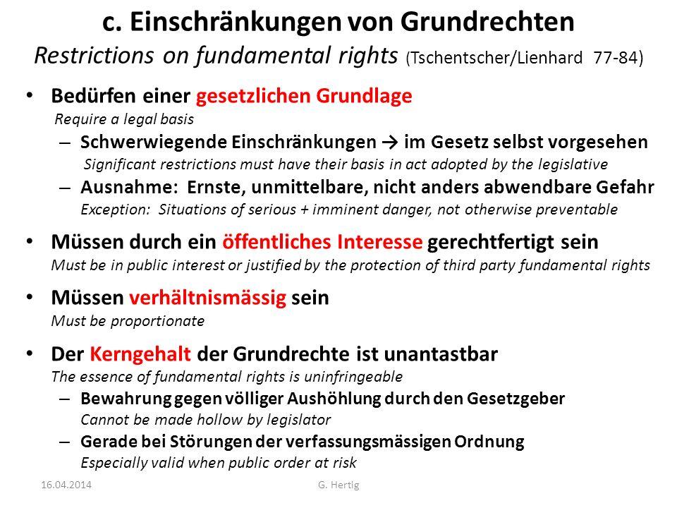 Einschränkungen / Restrictions Begriff (BGE vom 3.