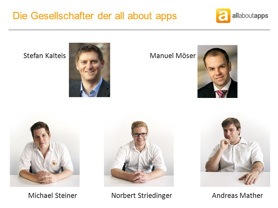 Stefan KalteisManuel Möser Michael SteinerNorbert StriedingerAndreas Mather Die Gesellschafter der all about apps