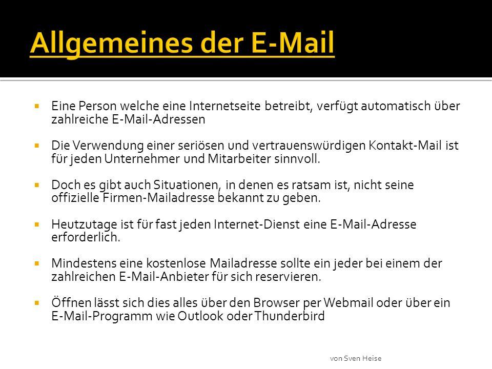 Eine Person welche eine Internetseite betreibt, verfügt automatisch über zahlreiche E-Mail-Adressen Die Verwendung einer seriösen und vertrauenswürdigen Kontakt-Mail ist für jeden Unternehmer und Mitarbeiter sinnvoll.
