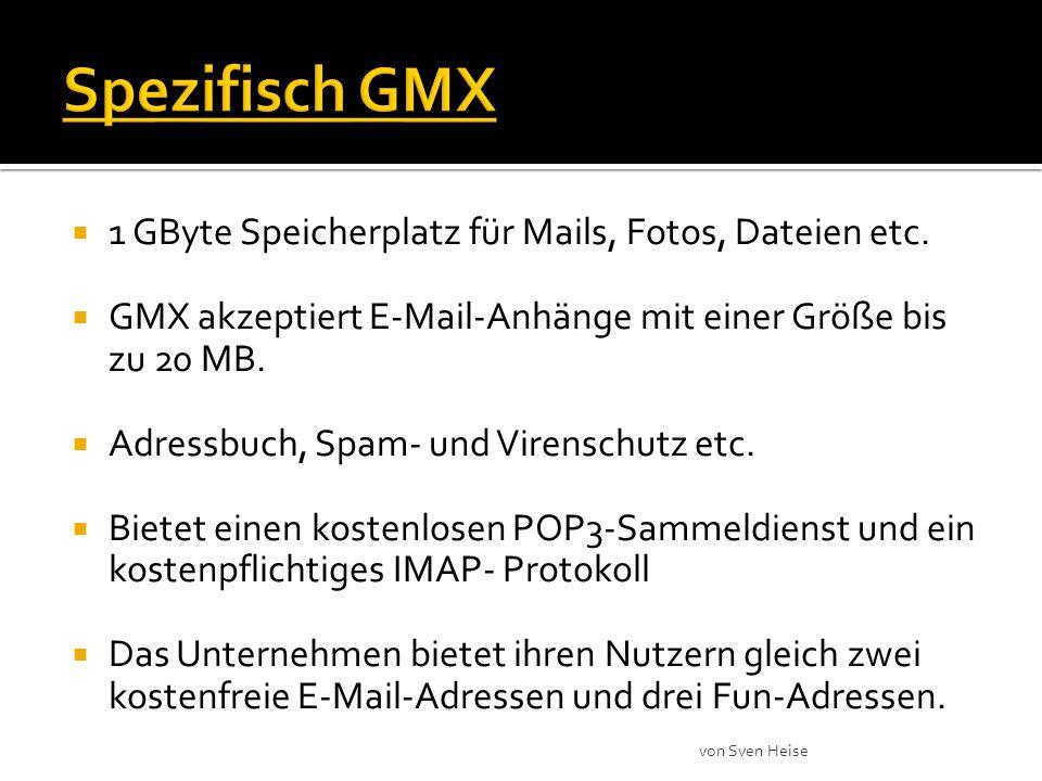 1 GByte Speicherplatz für Mails, Fotos, Dateien etc.