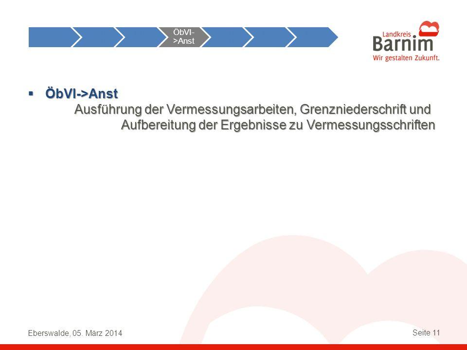 Eberswalde, 05. März 2014 Seite 11 ÖbVI->Anst ÖbVI->Anst Ausführung der Vermessungsarbeiten, Grenzniederschrift und Aufbereitung der Ergebnisse zu Ver