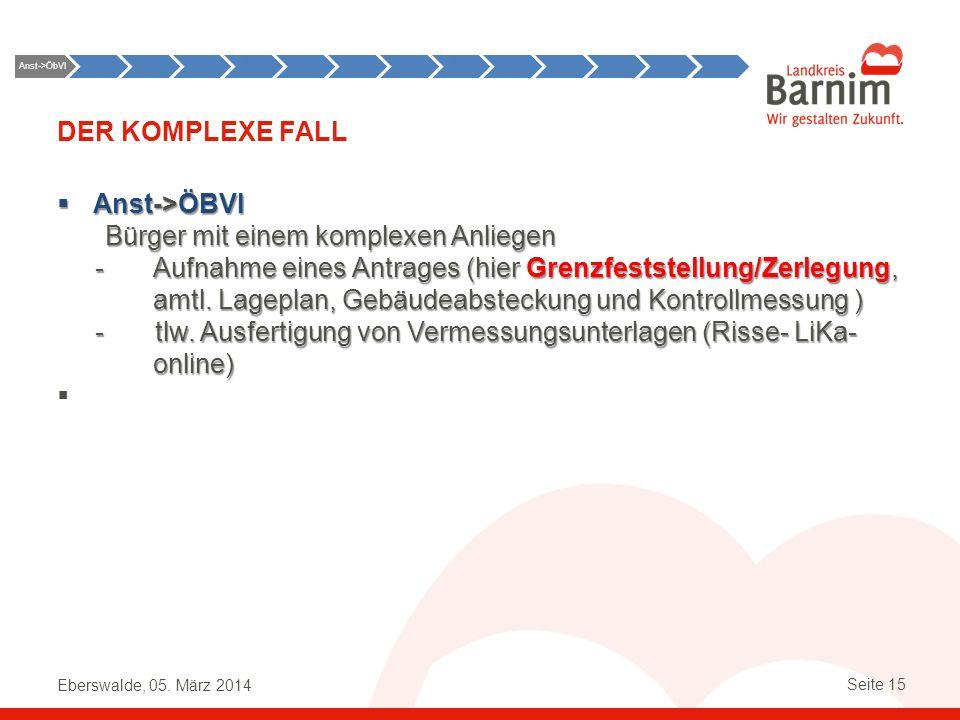 Eberswalde, 05. März 2014 Seite 15 DER KOMPLEXE FALL Anst->ÖBVI Bürger mit einem komplexen Anliegen Anst->ÖBVI Bürger mit einem komplexen Anliegen -Au