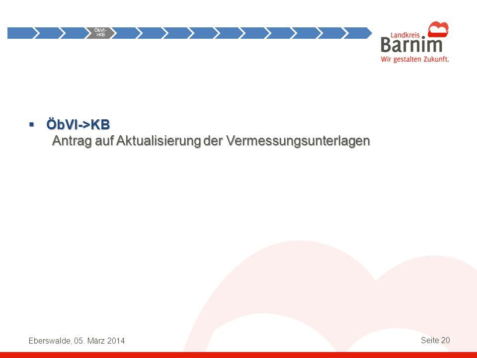 Eberswalde, 05. März 2014 Seite 20 ÖbVI->KB ÖbVI->KB Antrag auf Aktualisierung der Vermessungsunterlagen Anst->ÖbVI ÖbVI- >KB KB- >ÖbVI ÖbVI- >KB KB-