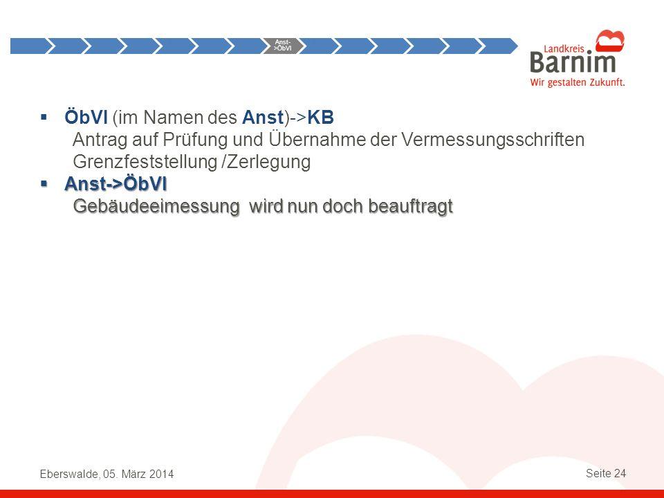 Eberswalde, 05. März 2014 Seite 24 ÖbVI (im Namen des Anst)->KB Antrag auf Prüfung und Übernahme der Vermessungsschriften Grenzfeststellung /Zerlegung