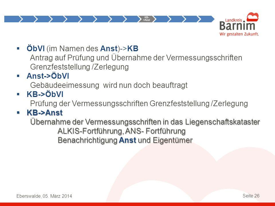 Eberswalde, 05. März 2014 Seite 26 ÖbVI (im Namen des Anst)->KB Antrag auf Prüfung und Übernahme der Vermessungsschriften Grenzfeststellung /Zerlegung