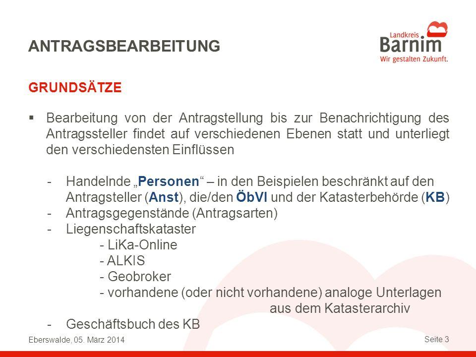 Eberswalde, 05. März 2014 Seite 3 ANTRAGSBEARBEITUNG GRUNDSÄTZE Bearbeitung von der Antragstellung bis zur Benachrichtigung des Antragssteller findet