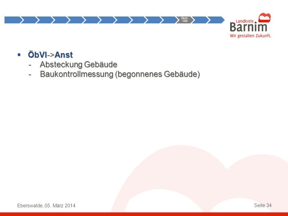 Eberswalde, 05. März 2014 Seite 34 ÖbVI->Anst ÖbVI->Anst -Absteckung Gebäude -Baukontrollmessung (begonnenes Gebäude) Anst->ÖbVI ÖbVI- >KB KB- >ÖbVI Ö