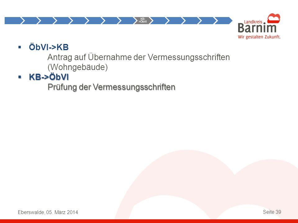 Eberswalde, 05. März 2014 Seite 39 ÖbVI->KB Antrag auf Übernahme der Vermessungsschriften (Wohngebäude) KB->ÖbVI KB->ÖbVI Prüfung der Vermessungsschri