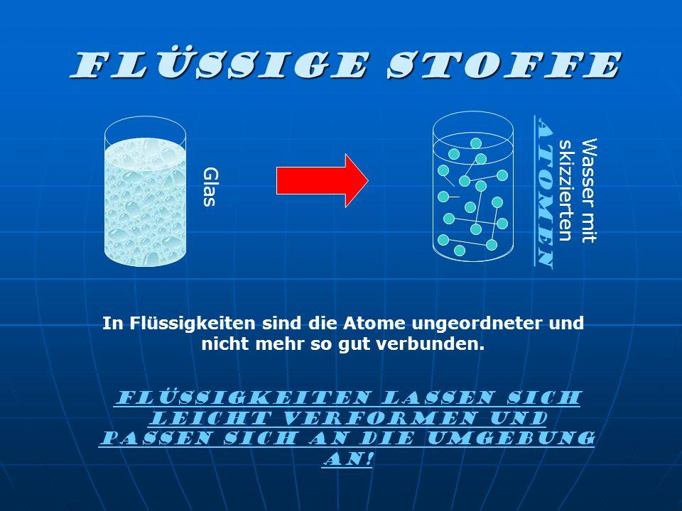 FLÜSSIGE Stoffe Glas Wasser mit skizzierten Atomen Flüssigkeiten lassen sich leicht verformen und passen sich an die Umgebung an! In Flüssigkeiten sin