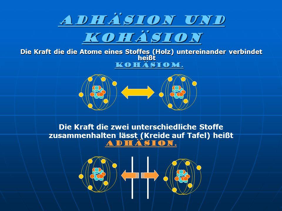Adhäsion und kohäsion Die Kraft die die Atome eines Stoffes (Holz) untereinander verbindet heißt KOHÄSIOM. KOHÄSIOM. Die Kraft die zwei unterschiedlic