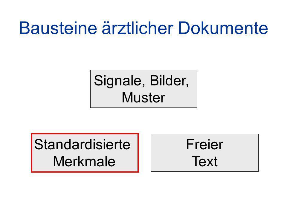 Bausteine ärztlicher Dokumente Standardisierte Merkmale Freier Text Signale, Bilder, Muster