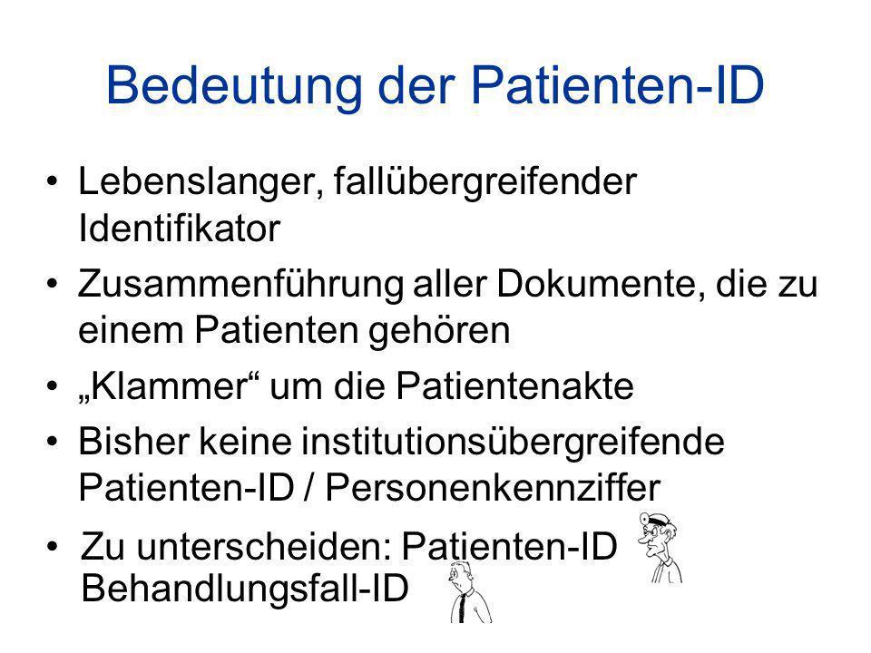 Bedeutung der Patienten-ID Lebenslanger, fallübergreifender Identifikator Zusammenführung aller Dokumente, die zu einem Patienten gehören Klammer um die Patientenakte Bisher keine institutionsübergreifende Patienten-ID / Personenkennziffer Zu unterscheiden: Patienten-ID Behandlungsfall-ID