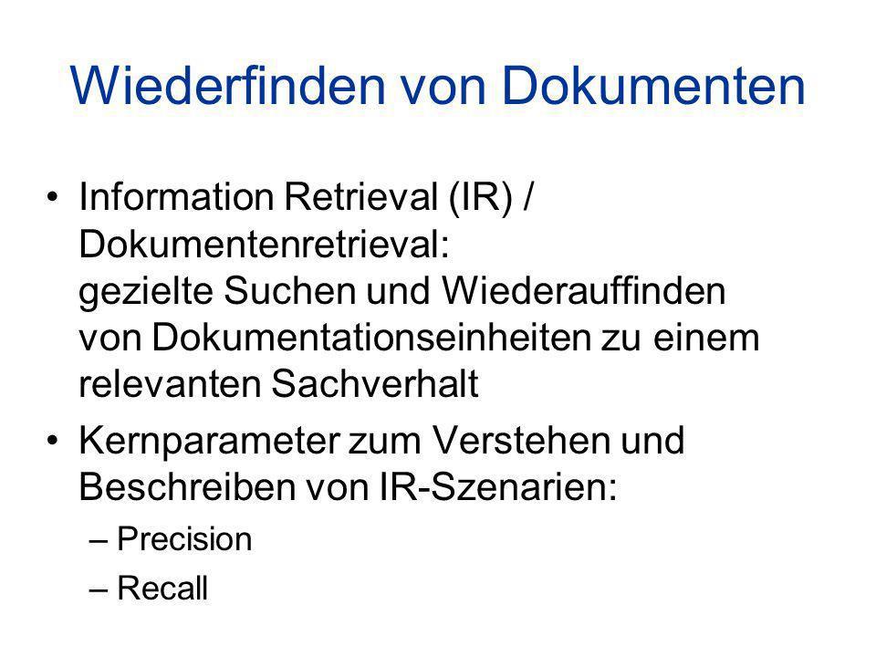 Wiederfinden von Dokumenten Information Retrieval (IR) / Dokumentenretrieval: gezielte Suchen und Wiederauffinden von Dokumentationseinheiten zu einem relevanten Sachverhalt Kernparameter zum Verstehen und Beschreiben von IR-Szenarien: –Precision –Recall