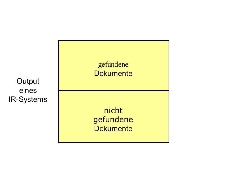 Output eines IR-Systems gefundene Dokumente nicht gefundene Dokumente