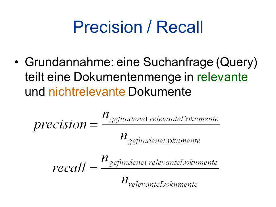 Precision / Recall Grundannahme: eine Suchanfrage (Query) teilt eine Dokumentenmenge in relevante und nichtrelevante Dokumente
