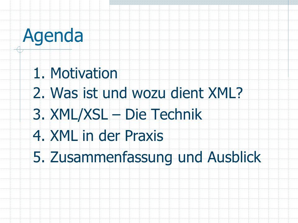 5.1 Zusammenfassung und Ausblick Einfacher als SGML Ermöglicht eine klare Trennung zwischen Daten und deren Präsentation Plattform- und programmiersprachen- unabhängig Selbstbeschreibend Maschinell verarbeitbar Offener Standard mit hoher Akzeptanz XML -