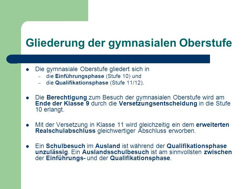 Gliederung der gymnasialen Oberstufe Die gymnasiale Oberstufe gliedert sich in – die Einführungsphase (Stufe 10) und – die Qualifikationsphase (Stufe 11/12).